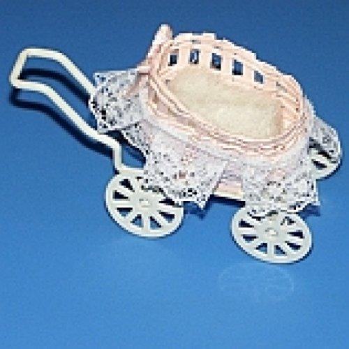 Miniatures World - Rieten en metalen kinderwagen voor miniatuurdecors en poppenhuizen in schaal 1:12
