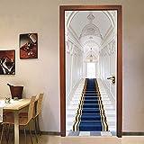 LMHWW 3D Etiqueta De La Puerta,88X200CM Escaleras De Estilo Europeo Impermeable Extraíble Murales Murales Autoadhesivos Papel Tapiz Para Puertas Interiores Puerta Del Dormitorio Casa Decoración