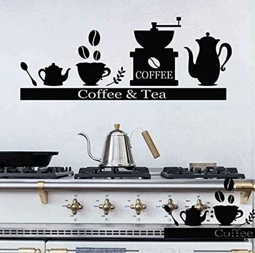 TJVXN Calcomanía de Pared para mostrador, cafetera, Soporte para Tazas de té, estantes, Pegatinas de Vinilo para Pared, Bar, cafetería, Cocina, decoración...