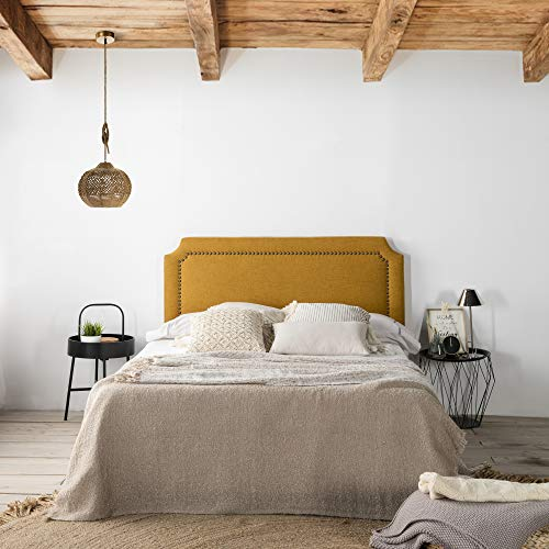marckonfort Cabecero tapizado Leonor 160 x 60 cm Mostaza, Tachuelas en Color Marrón, Grosor Total 8...