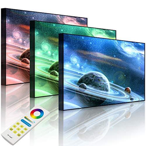 Lightbox-Multicolor | Wanddekoration Leuchtbild | Planet mit zahlreichen prominenten Ringsystem | 60x40 cm | Front Lighted
