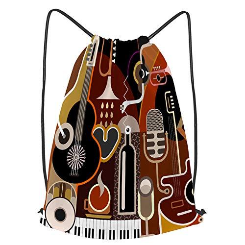 Impermeable Bolsa de Cuerdas Saco de Gimnasio Ilustración de vector de fondo de música abstracta.Collage con instrumentos musicales Deporte Mochila para Playa Viaje Natación