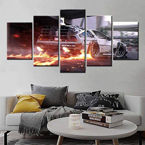 GFYE 5 Piece Canvas Wall Art Frame Back to The Future car Poster Artwork Modern Home Decor for Living Room Gallery-Wrapped Ready to Hang Posters and Prints(150x80cm
