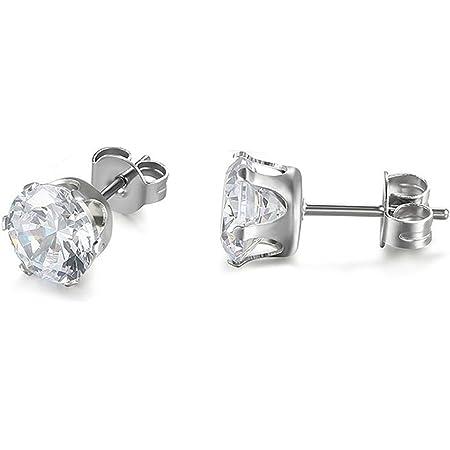 JewelryWe Gioielli Orecchini Zirconia Brillanti, Piccoli orecchini di Uomo Donna, Classico Rotondo Colore Bianco, Acciaio inossidabile 3-8mm