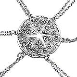EQLEF Un Conjunto de Collares de Plata con Forma de Pizza Paquete de Seis Collares par Amistad