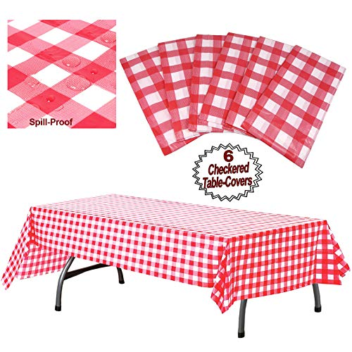 "Plastic Checkered Tablecloth | 6 Pcs Pack - 54"" Wide x 108"" Long 