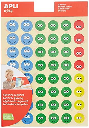 APLI Kids - Bolsa de gomets cara feliz-2, 3 hojas adhesivo removible, Surtido II, Única (14226)