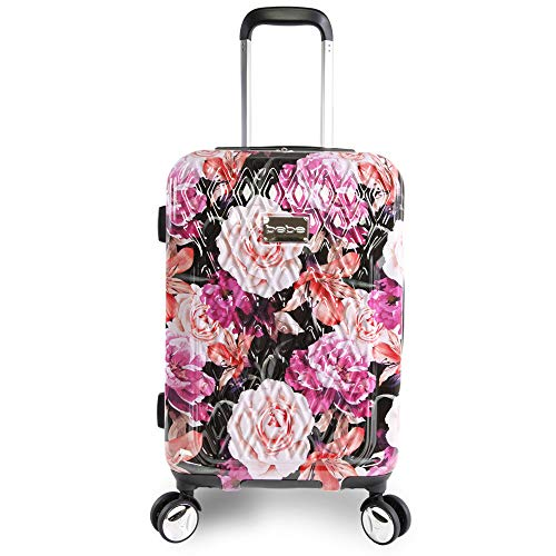 BEBE Women's Marie 21' Hardside Carry-on Spinner Luggage, Black Floral Print, One Size