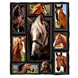 ChriHome Flannel Blanket 3D Cool Horse Soft Plush Blanket for Couch Sofa Bed Nap Travel Cozy Warm Throw Blankets Bedding Home Decor (60'' x 50'')