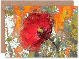 Fine Art Prints Abstrakt graffiti vallmo målning gratulationskort med kuvert inuti premiumkvalitet