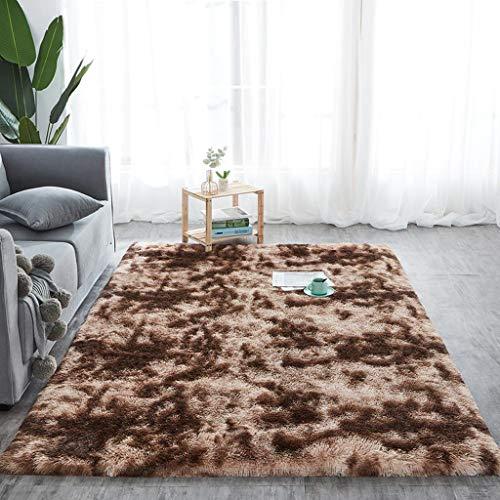 DALUXE Tie-Dye Mats Teppich Shaggy Plüsch Boden Fluffy Printed Matten für Kinder-Pelz-Bereich Teppich Wohnzimmer Mats Absorption Alfombra,Kaffee,60x120