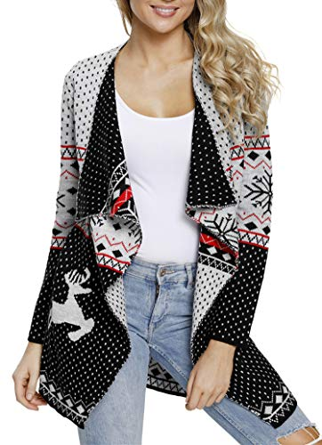 Sidefeel Women Open Front Christmas Turndown Collar Sweater Waterfall Cardigan X-Large Grey