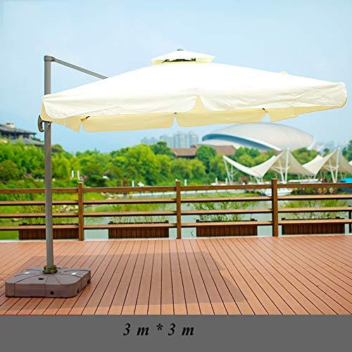 Hcyai Garten-Sonnenschirm Außenschirm Freistehende Banana Cantilever Overhanging Garten Sonnenschirm-Regenschirm, 3m * 3m Kein Regenschirm Sitz,04