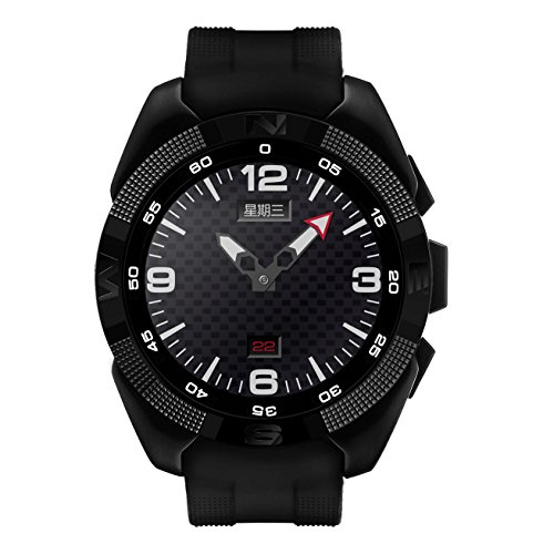 CountdownPas (Negro) Bluetooth Smart Watch Smartwatch Reloj Smartwatch con Pantalla táctil Anti pérdida de Ritmo cardíaco Monitor podómetro