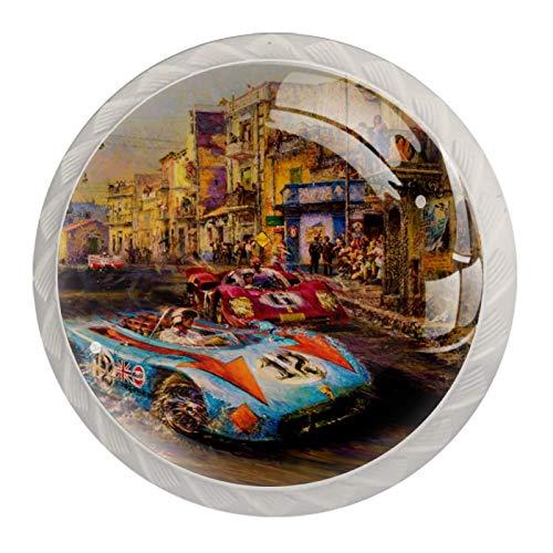 Tirador de puerta Rally pintado juego de pomos de vidrio transparente con tornillos accesorios para gabinetes cajones y armarios decoración de muebles 4 piezas 3.5×2.8CM
