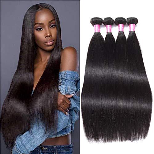 "8A Peruvian Straight Human Hair Bundles Deals 24"" 26"" 28"" 30"" 100% Unprocessed Peruvian Straight Human Hair Weave 4 Bundles Hair Weft Remy Virgin Hair Extensions Natural Color"