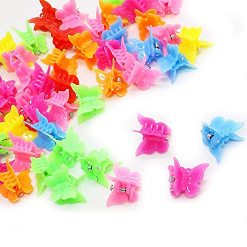 50 Pcs Mixed Color Mini Plastic Beautiful Butterfly Hair Clips Hair Accessories Hair Clip for Women Lady and Girls(Random Color)