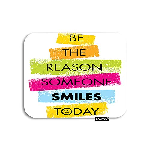 AOYEGO Motivational Quote Mouse Pad Word Be The Reason Someone Smiles Today Rainbow Gaming Mousepad Rubber Large Pad Non-Slip for Computer Laptop Office Work Desk 9.5x7.9 Inch