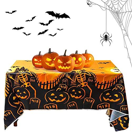 Mantel De Halloween Plástico,Mantel De Halloween,Mantel de Halloween de Calabaza,Mantel de Terror de Halloween,Decoración de Fiesta de Halloween Mantel,para Decoración de Fiesta de Halloween