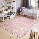 TAPISO Pinky Teppich Kurzflor Kinderteppich Kinderzimmer Pink Rosa Weiß Pastellfarben Modern Blumen Floral Spielteppich ÖKOTEX 80 x 150 cm