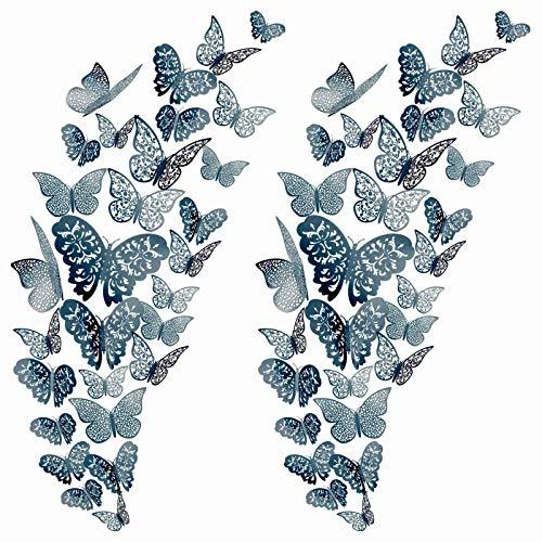 YANFANG 72Pc 3D Butterfly Wall Decals Sticker Art Decorations Set TamañOs DecoracióN,para Despegar Y Pegar Sala Estar, CalcomaníA Mariposa Pared, Flores NiñOs, NiñAs, Dormitorio, Puerta, Ventana