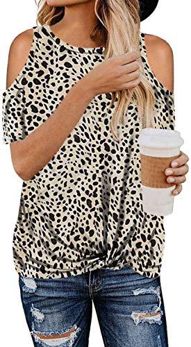 Damen T-Shirts Bluse Farbblock Pullover Kalte Schulter Shirts Leoparden Oberteile Tunika Kurzarm Tshirt Rundhals Tops Zd-Apricot L