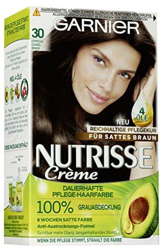 Garnier Nutrisse Creme Coloration Espresso Dunkelbraun 30 / Färbung für Haare für permanente Haarfarbe (mit 3 nährenden Ölen) - 3 x 1 Stück