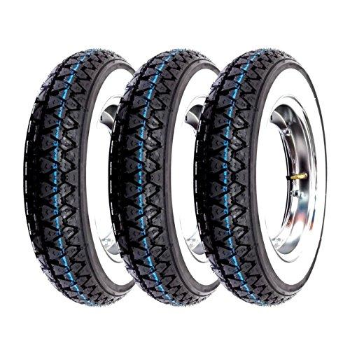 Trois roues complètes Kenda K333 bande blanche 3.00-10 42J Vespa 50 Special