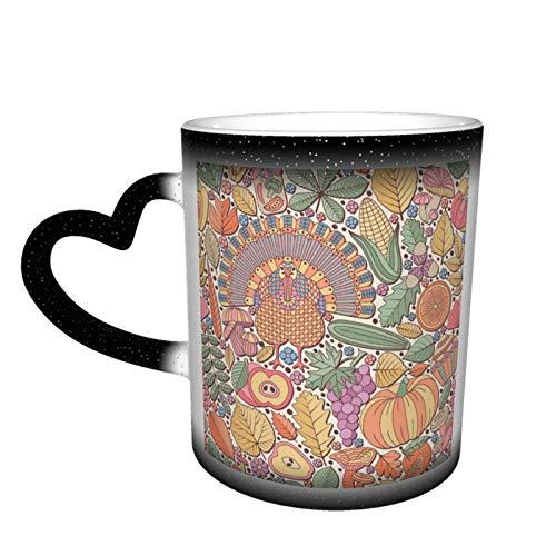 Día de Acción de Gracias Taza que cambia de color Diseño de taza de café Taza de cerámica sensible al calor Taza que cambia de color en el cielo, 11 oz
