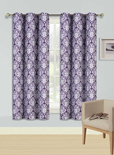 """Gorgeous Home (F'S)DIFFERENT COLORS & SIZES 2PC PANELS GEOMETRIC PATTERN PRINTED THERMAL FOAM LINED BLACKOUT HEAVY THICK WINDOW CURTAIN DRAPES SILVER GROMMETS (F12 PURPLE FLORAL, 63"""" LENGTH)"""