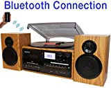 Boytone BT-28SPW, Bluetooth Classic Style Record Player Turntable with AM/FM...