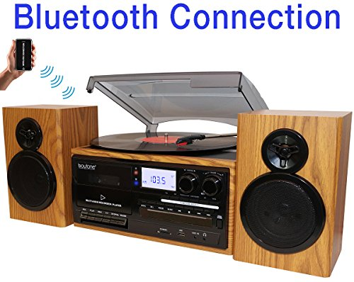 Boytone BT-28SPW, Bluetooth Classic Style Record Player Turntable with AM/FM Radio, CD / Cassette Player, 2 Separate Stereo Speakers, Record from Vinyl, Radio, and Cassette to MP3, SD Slot, USB, AUX.