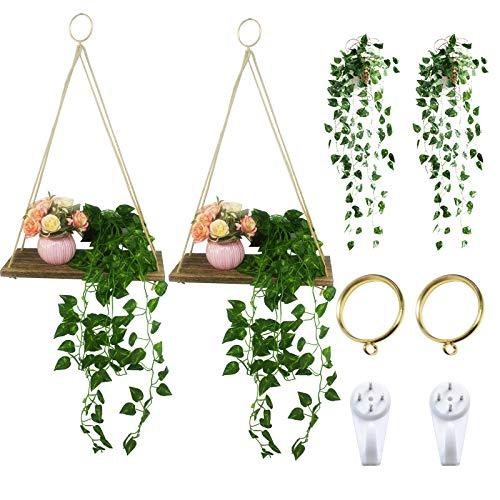 Holz Regal Wandregal mit Künstliche Pflanzen - Wandregal Schweberegal mit Seil Hängeregal Schweberegale, 2pcs Schweberegale + 2pcs Künstliche Pflanzen (2er Set)