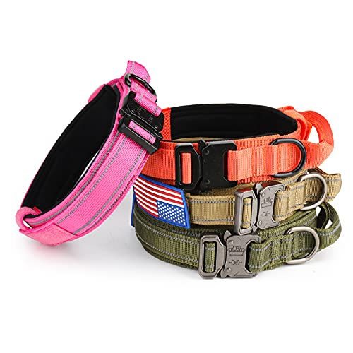 Reflective Tactical Dog Collar - KCUCOP Military Dog Collar with USA American Flag Patch with Handle Heavy Duty Metal Buckle 1.5' Width Nylon Thick Adjustable K9 Collar for M Large XL Dog (Pink, L)