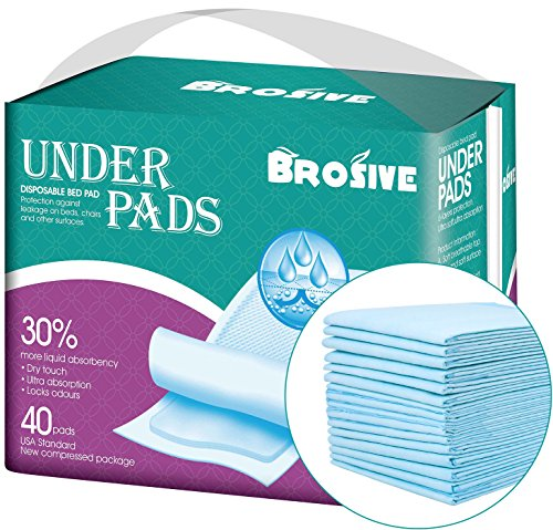 Disposable Incontinence Bed Pads,Leak-Proof Breathable Disposable Underpads for Adults, Children and Pets,Hospital 1500ml High Absorbency Disposable Waterproof Bed Pads (36Lx23W,40Pads)