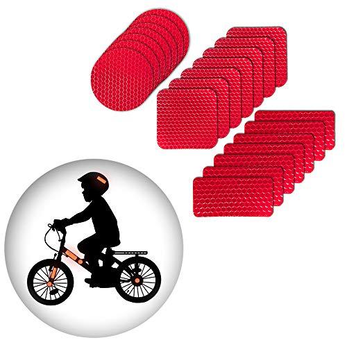 Muchkey Pegatinas reflexivas Impermeable Adhesivas Reflectantes para Casco de Bicicleta Rojo