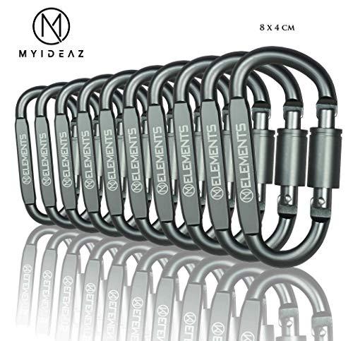 MyIdeaz Karabiner 80mmx8mm 22g mit Schraubverschluss, 10 Stück Karabinerhaken Rostfrei, Premium Alu Schnapphaken Schraubkarabiner für Outdoor, Wandern, Schlüsselanhänger, Camping, Angeln.