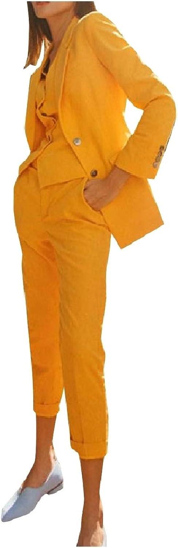 Unastar Women SlimFit Single Button Blazer Suits Work Pants,Vest Jacket