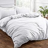 Brentfords - Set di biancheria da letto in microfibra spazzolata, effetto lino lavato, colore: Bianco