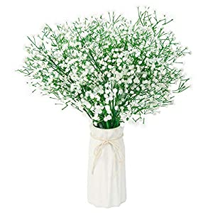 PONKING Baby Breath Flowers Artificial, 12pcs Gypsophila Fake Flowers White Gypsophila Bouquets Long Stem, Fake Real Touch Flowers for Wedding Party Home DIY Decoration