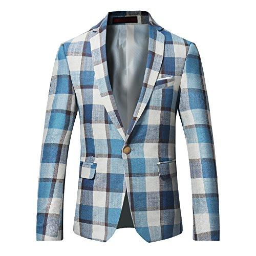 Mens Plaids Suit Blazer Slim Fit One Button Notch Lapel Casual Daily Dress Suit Jacket Sport Coat Khaki