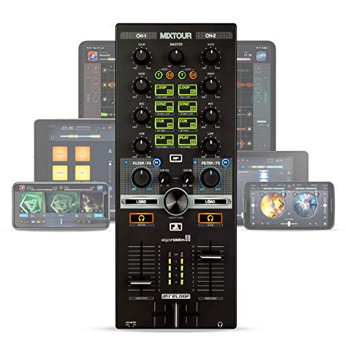 Reloop Mixtour – Portabler USB All-In-One DJ Controller mit integrietem Audio Interface, MIDI-Kompatibilität und Streamindiensten-Integration, (schwarz)