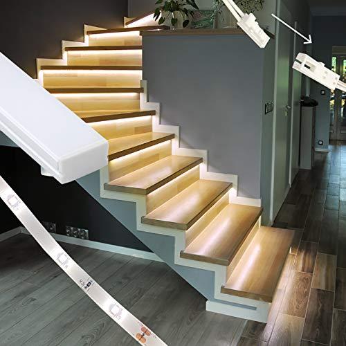 proventa® LED-Treppenstufenbeleuchtung mit 15 Alukanälen, Komplettset für 15 Stufen, 2.700K warmweiß, montagefreundliche Steckverbindung