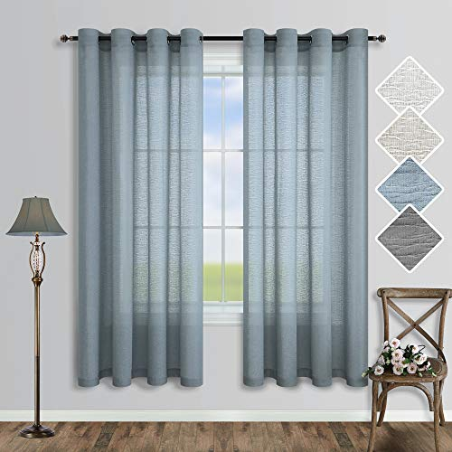 Dusty Blue Sheer Curtains 63 Inch Length for Kitchen 2 Panels Set Grommet Drapes Linen Blended Light Semi Privacy Curtain for Boys Bedroom Baby Nursery Room Bathroom Bay Window Accent Decor 52x63 Long