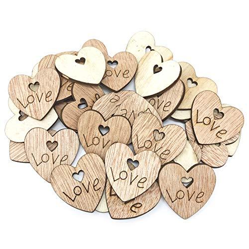 Lot de 250 cœurs en bois style shabby chic vintage 25 mm