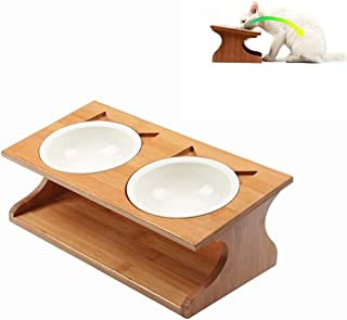 【小型 犬 猫 ペット用フードボウル】ペット食器台 自然木製 陶器お皿 ボウル2個セット 傾斜のあるご飯台 フードボウルスタンド 滑り止め付き ペット腰 関節首の負荷軽減 取り外し可能 保証付き(35*17.5*12cm)