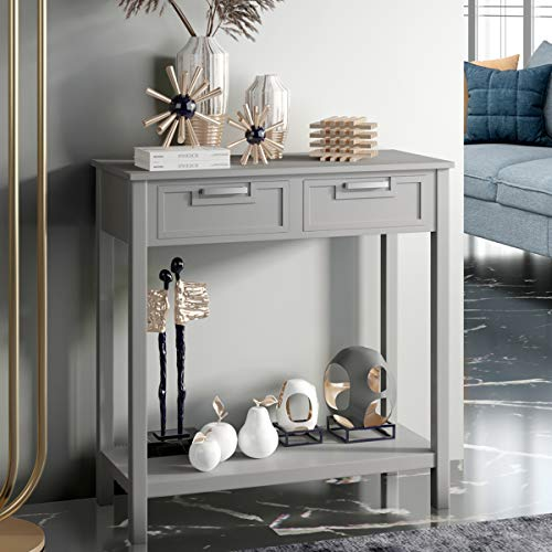 COSTWAY Console Side Table, Modern PC Computer Writing Desk with 2 Drawers...