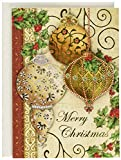 Punch Studio Gold Christmas Ornaments Dimensional Holiday Greeting Cards - Set of 12 (50359)
