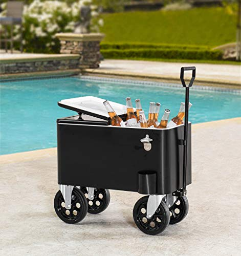 Sunjoy A601006600 Audrey 60 Quart Cooler Cart, Black
