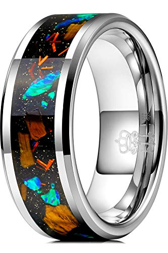 THREE KEYS JEWELRY Men Wedding Bands 8mm Tungsten Blue Opal Carbide Flat Ring Real with Jewels Polished Infinity Unique for Him Black Size 7.5